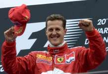 GERMAN FERRARI'S DRIVER MICHAEL SCHUMACHER CELEBRATES AFTER THE SAN MARINO GRAND PRIX
