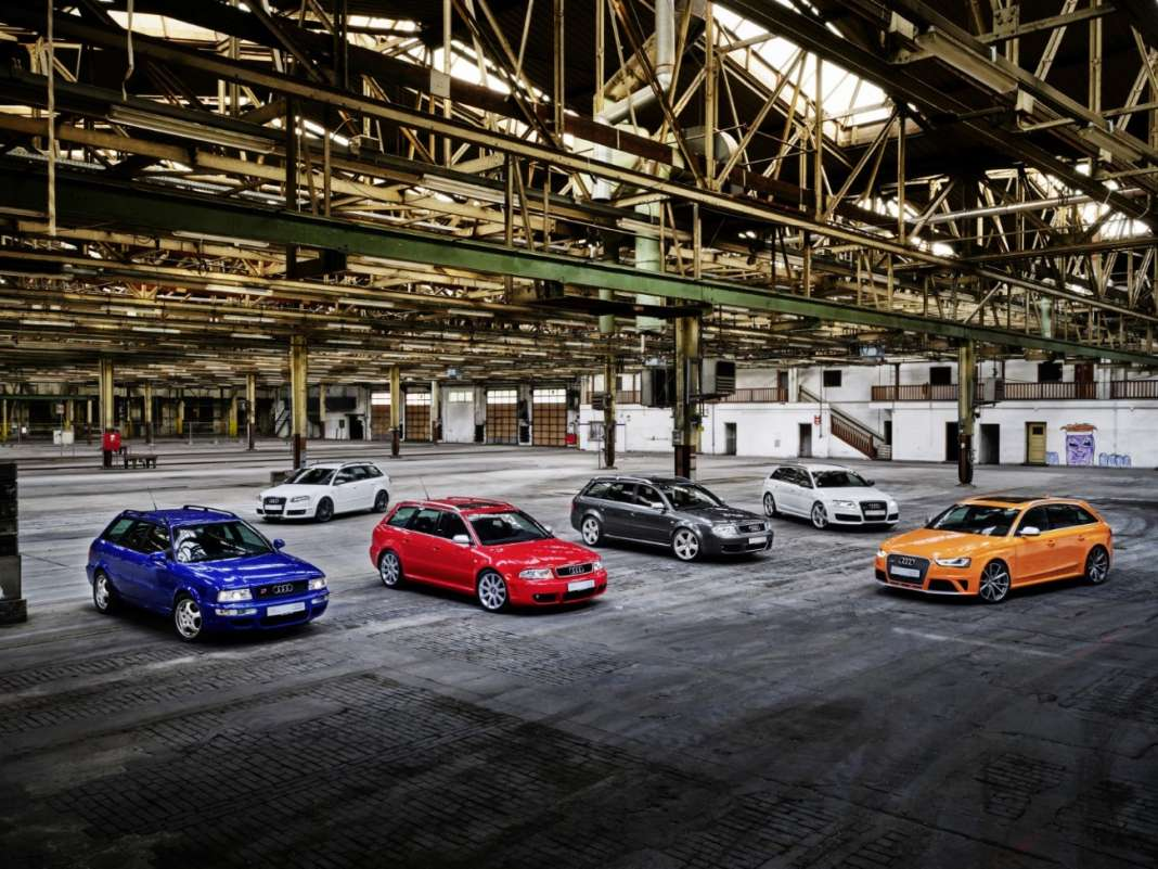 From left to right: Audi RS 2 Avant, Audi RS 4 Avant (Typ B7), Audi RS 4 Avant (Typ B5), Audi RS 6 Avant (Typ C5), Audi RS 4 Avant (Typ B7), Audi RS 4 Avant (Typ B8)