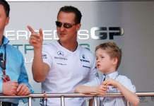 Michael Schumacher and son attending the Monaco Formula One Gran