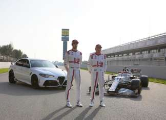 Giulia GTAm, Antonio Giovinazzi and Kimi Räikkönen