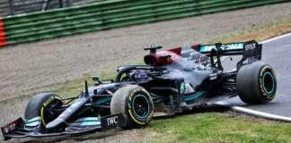 Lewis Hamilton Mercedes AMG F1 W12 reverses back onto the circuit at Tosa.18.04.2021. Formula 1 World Championship, Rd 2, Emilia Romagna Grand Prix, Imola, Italy F1 FORMULA 1